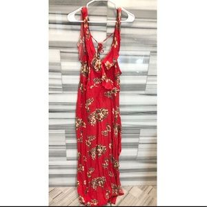 Dance & Marvel red floral maxi dress